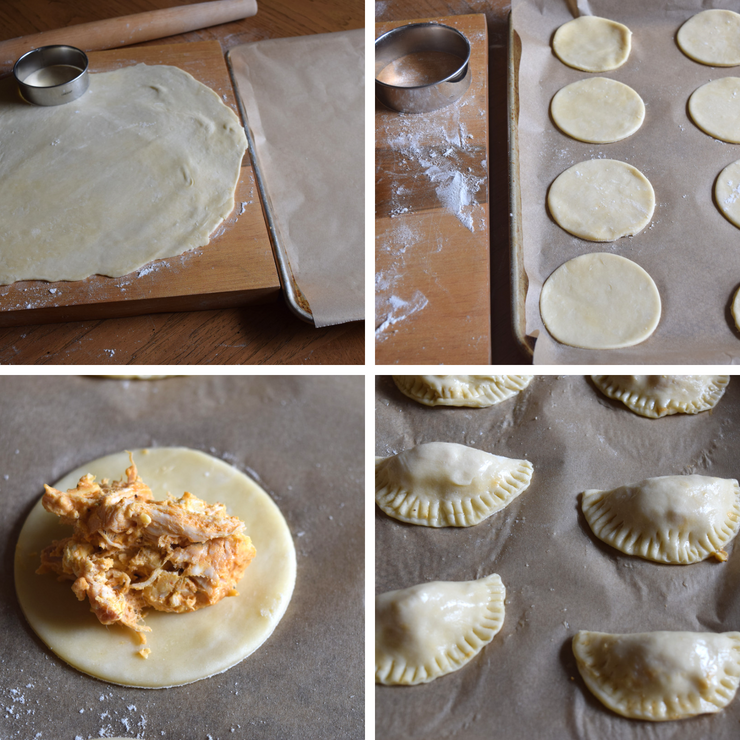 collage showing how to fill empanadas