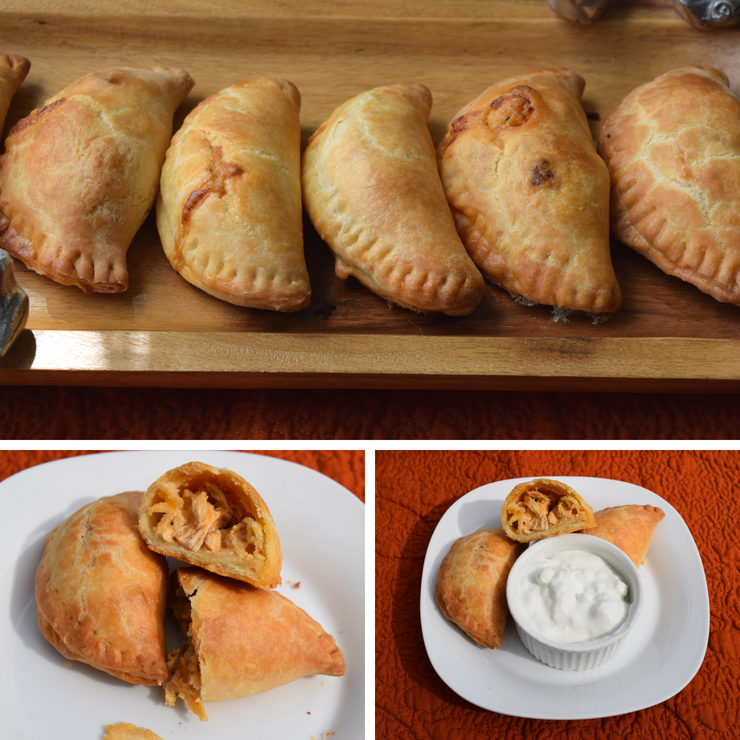 collage of buffalo chicken empanadas on trays and with dip