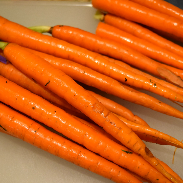 close up of whole carrots