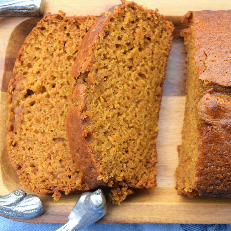 aerial photo of slices of pumpkin bread