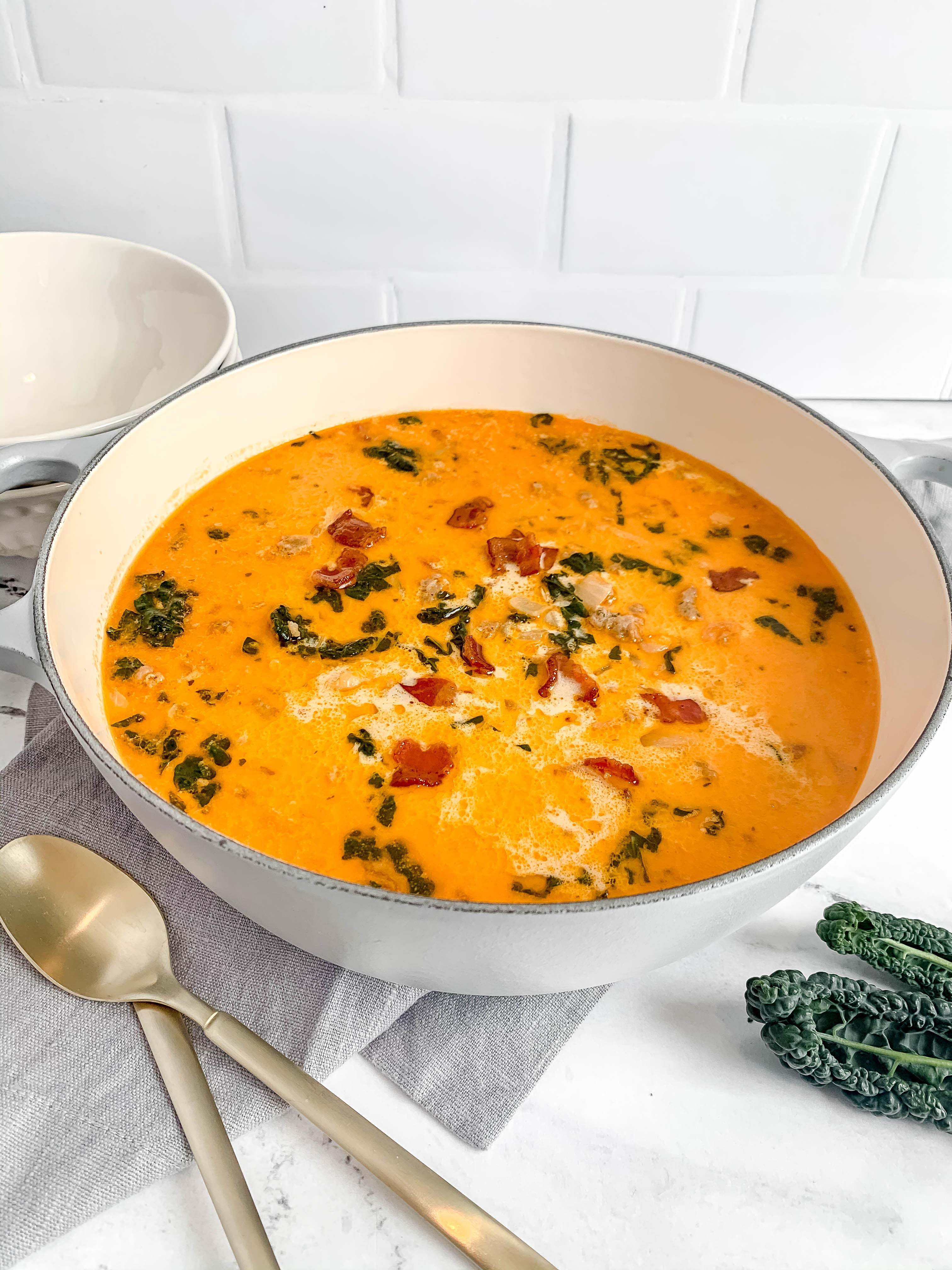 Easy But Amazing Italian Soup with White Beans, Kale, and Sausage