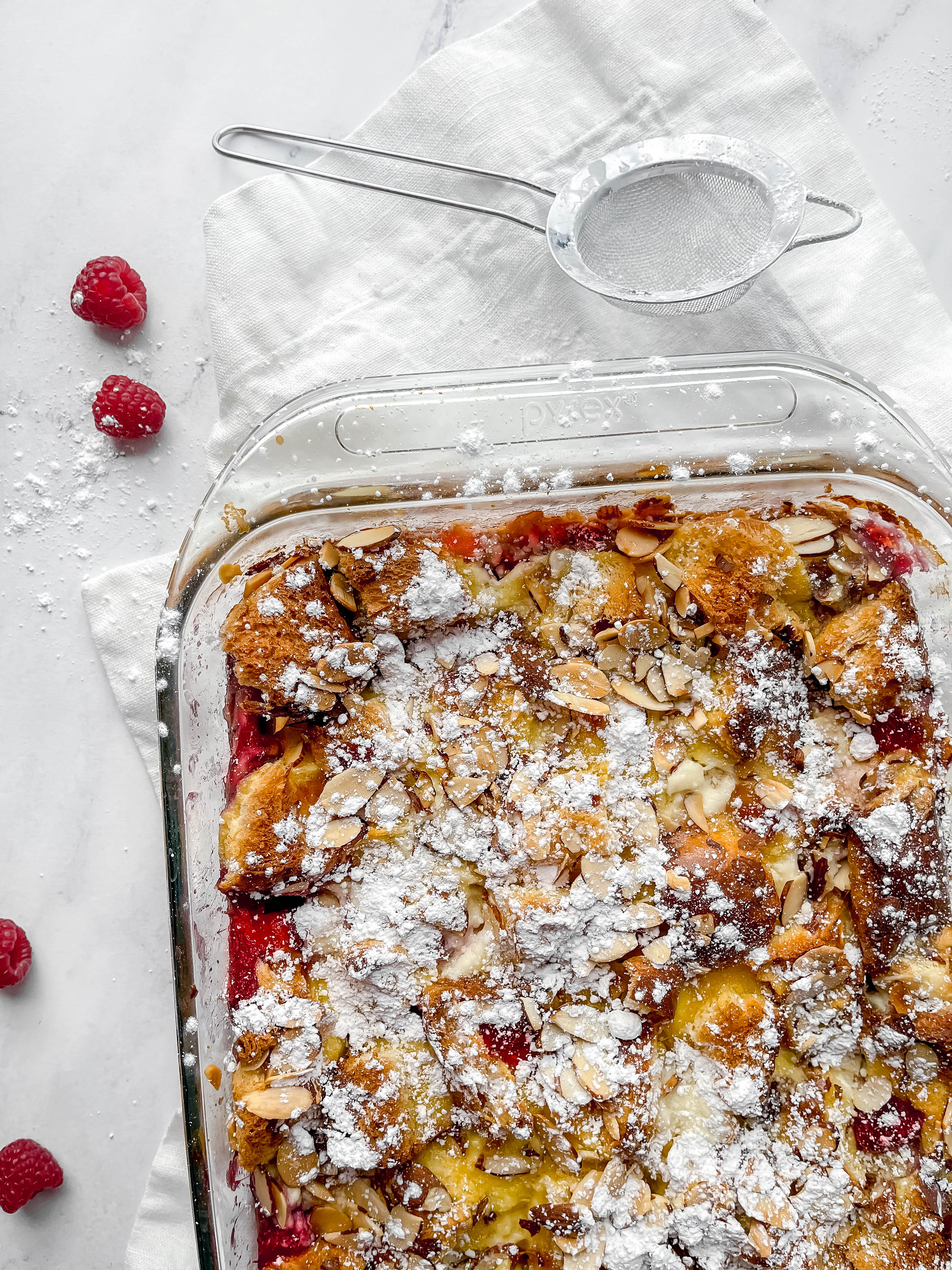 Overnight Raspberry Almond Baked French Toast