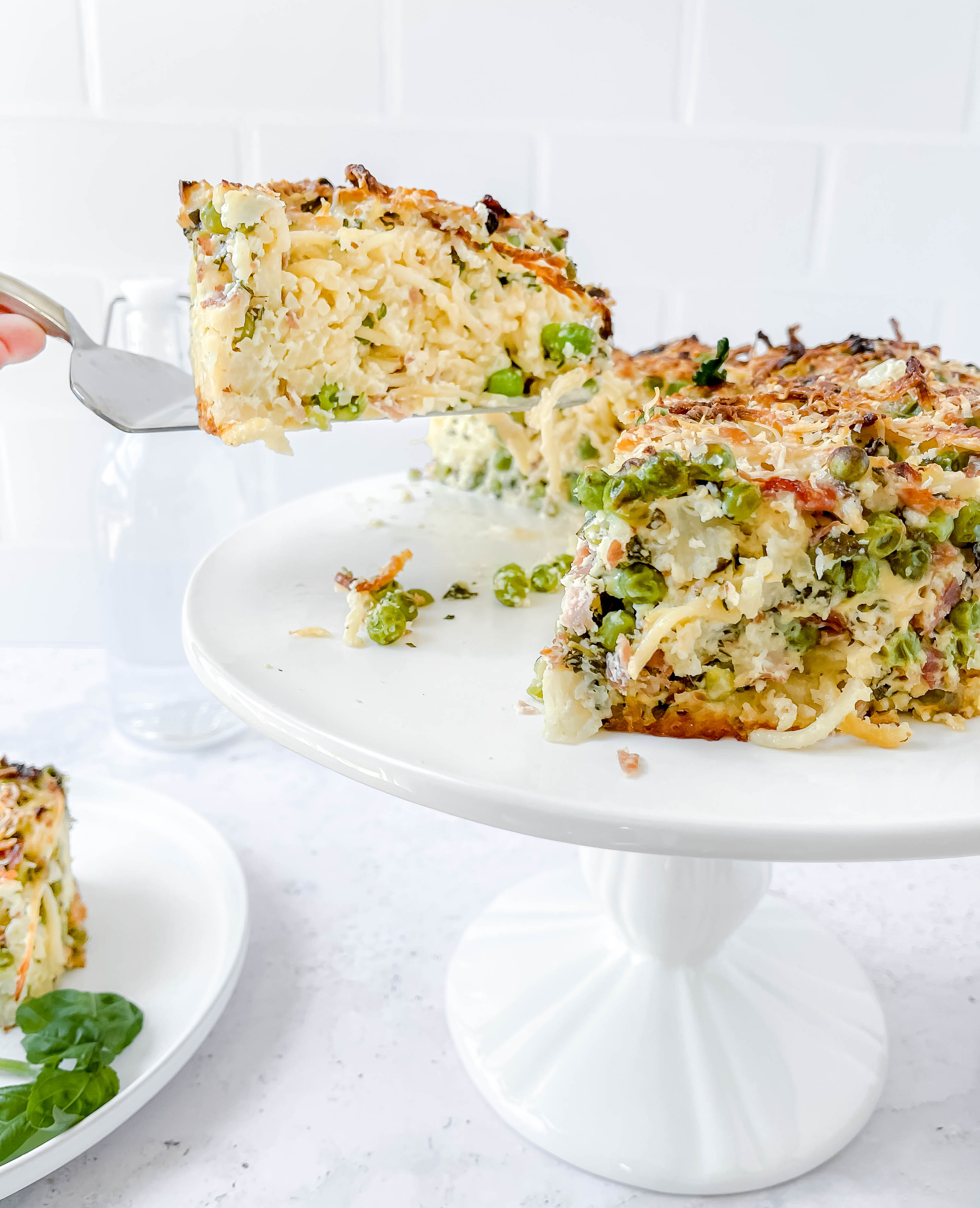 """""""The Perfect Bite"""" Spaghetti Pie with Herbs and Veggies"""